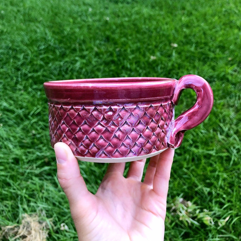 Raspberry Pink Dragon Scale/ Mermaid Soup Mug Handmade Pottery image 0