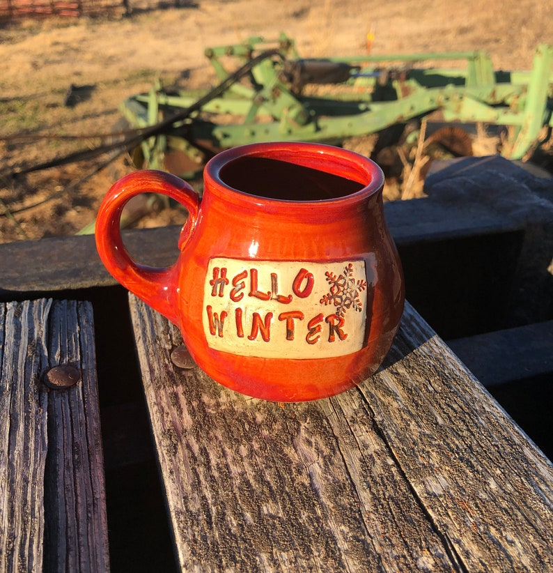 Hello Winter Mug Cinnamon Red Snowflake Pottery Handmade by image 0