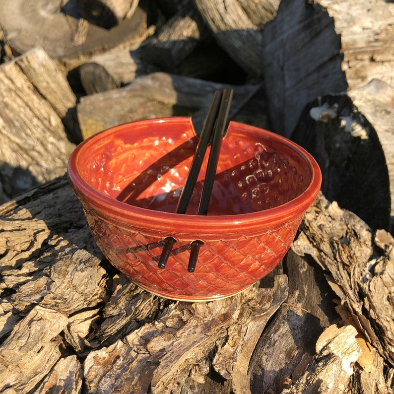 Autumn Red Dragon Scale Mermaid Rice Bowl with Chopsticks image 0