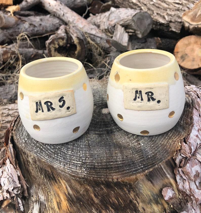Mr. and Mrs. Wine cups Set of 2 Tumblers Polka Dot Bridal image 0