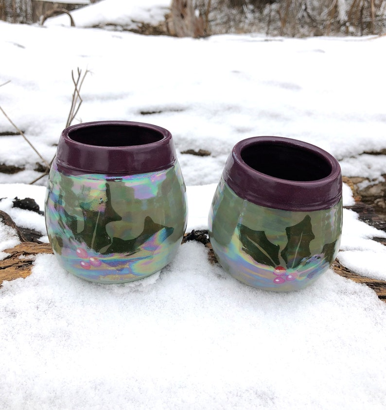 Holly Pottery Wine Cups Tumblers Green and Purple Handmade image 0