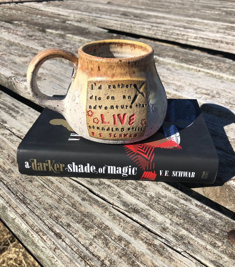 Large Literary Mug I'd Rather Die on an Adventure than image 0