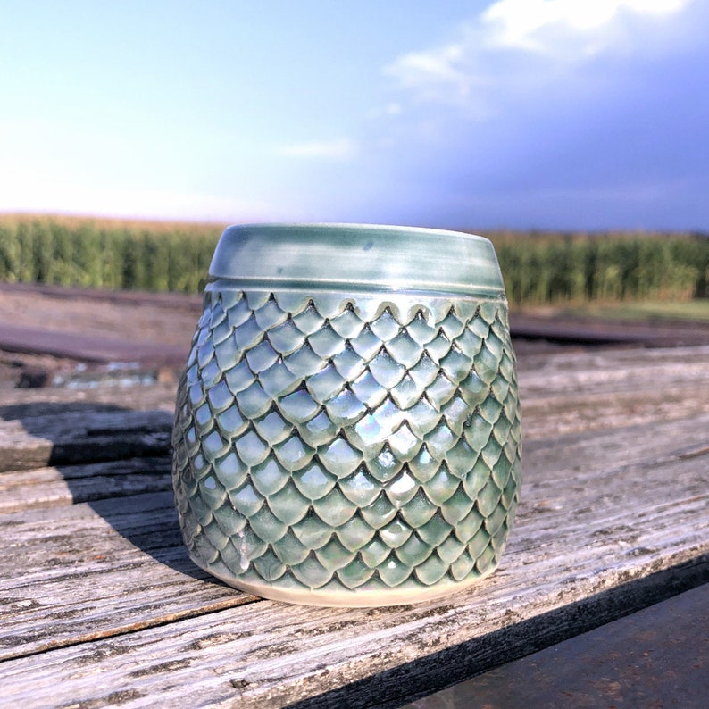 Sea Green Dragon Scale Wine Cup  Tumbler Mermaid Handmade by image 0