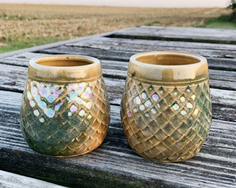 Green/ Golden Dragon Scale Wine Cups, Set of Two Tumblers, Mermaid Style, Gifts for Her, Handmade Pottery by Daisy Friesen