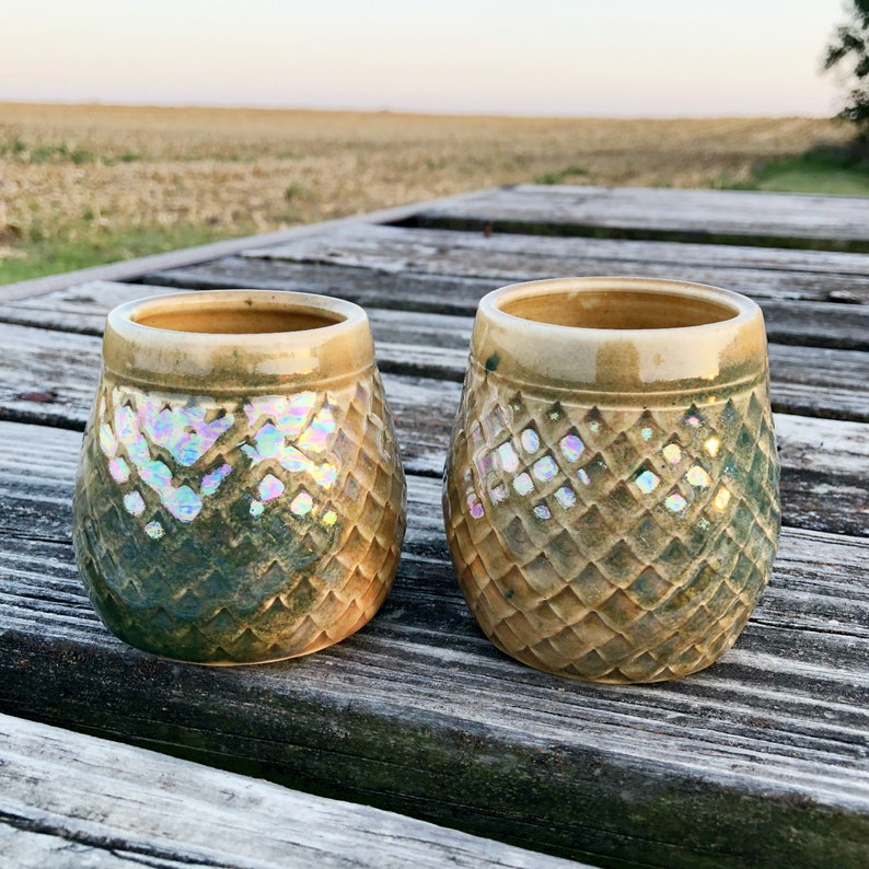 Set of Two Golden/Green Dragon Scale Wine Cups  Tumbler image 0
