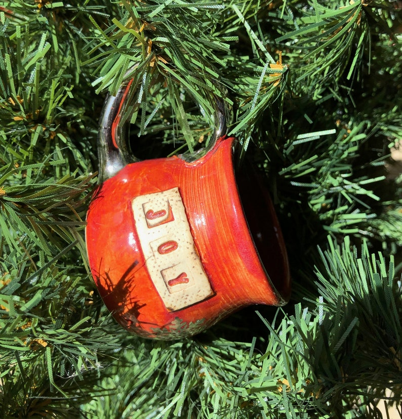 Ornament Miniature Mug-Joy-Red and Silver Pottery Handmade by image 0