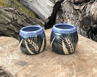 Periwinkle Wheat Wine Cups, Set of Two Tumblers, Wedding Gifts, Pottery Handmade by Daisy Friesen