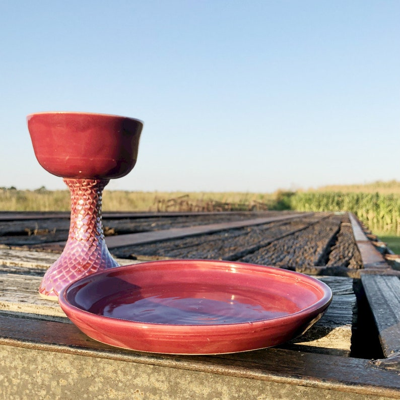 Raspberry Pink Dragon Scale Mermaid Chalice and Paten image 0