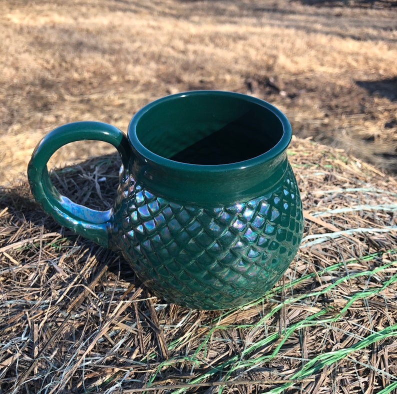 Large Green Dragon Scale Mug Mermaid Style Gift Mother's image 0