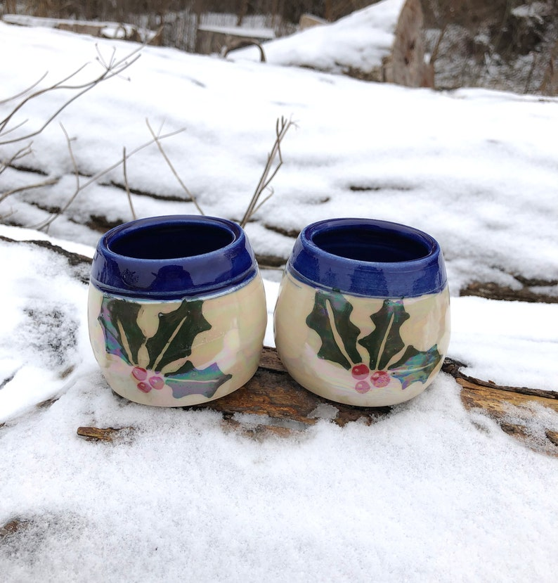 Holly Pottery Wine Cups Tumblers Cobalt Blue and White image 0