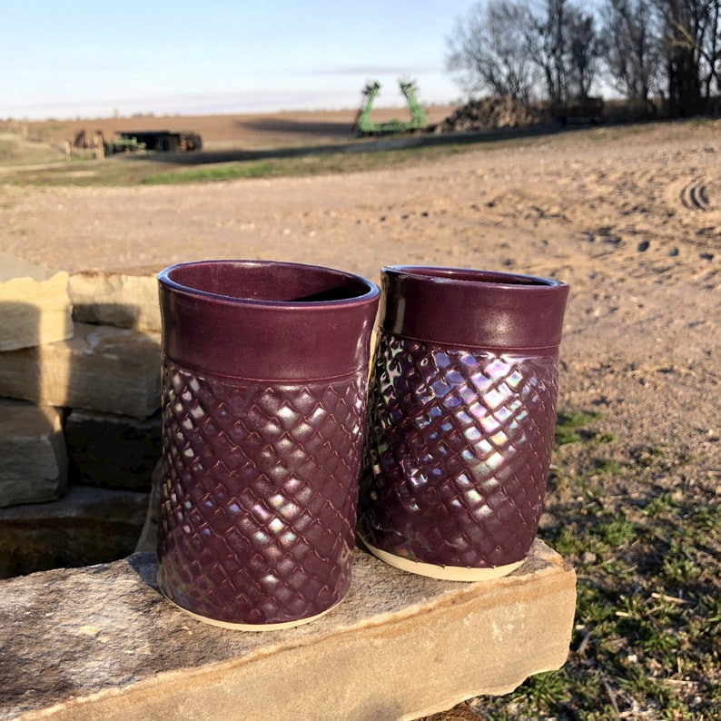 Pottery Tumbler Set of Two 14 oz. Purple Dragon Scale Handmade image 0