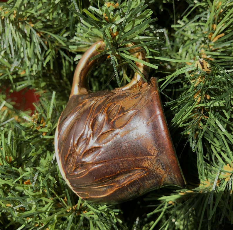 Ornament Miniature Mug Wheat Brown and Gold Pottery image 0