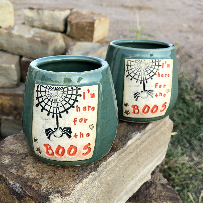 Pottery Wine Cups-I'm Here for the Boos Tumblers image 0
