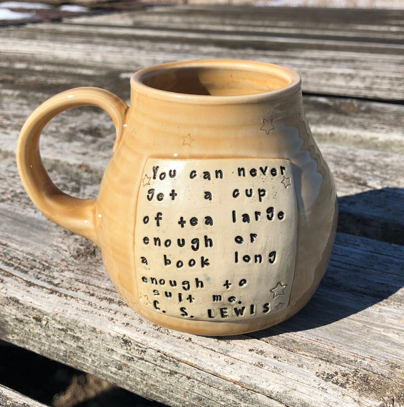 Large Literary Mug Yellow You can never get a cup of image 0