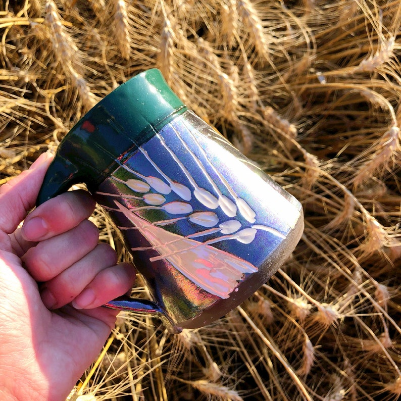 Wheat Mug Black and White Hemlock Green with Mother-of-Pearl image 0