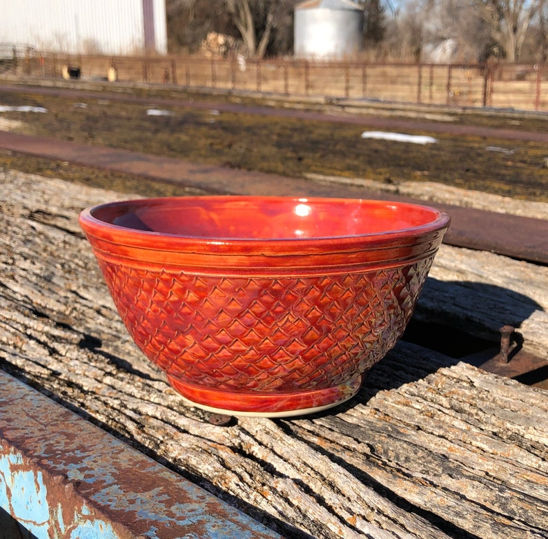 Red Dragon Scale Bowl Handmade Pottery by Daisy Friesen image 0