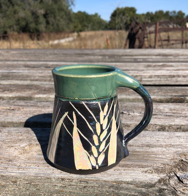 Wheat Mug Black and White Green with Mother-of-Pearl luster image 0