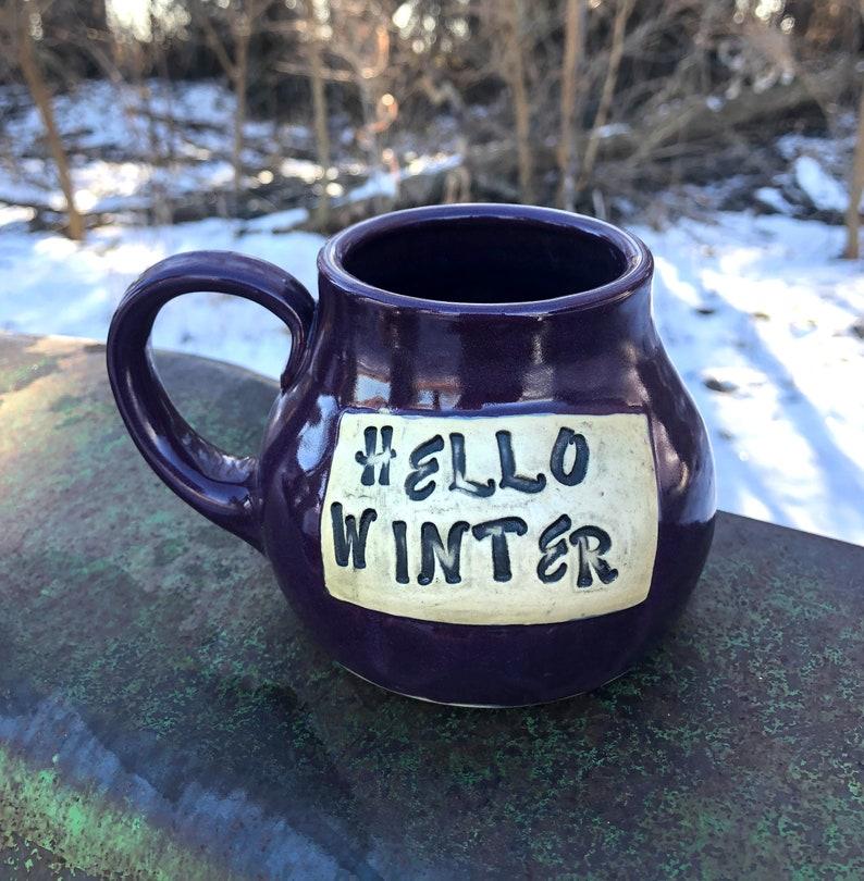 Purple Hello Winter Mug Snowflake Pottery Handmade by Daisy image 0