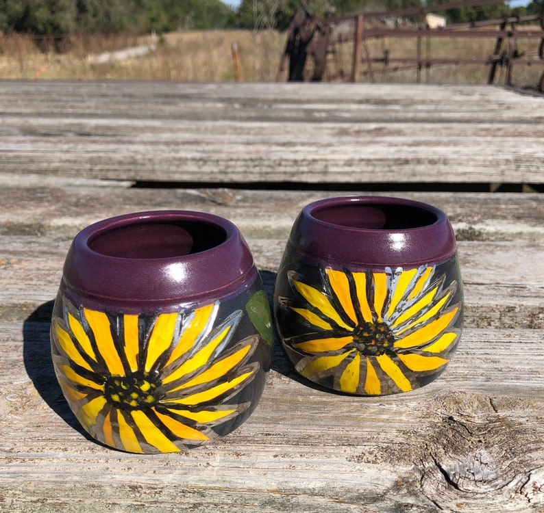Sunflower Pottery Wine Cups Tumblers-Purple Handmade by Daisy image 0