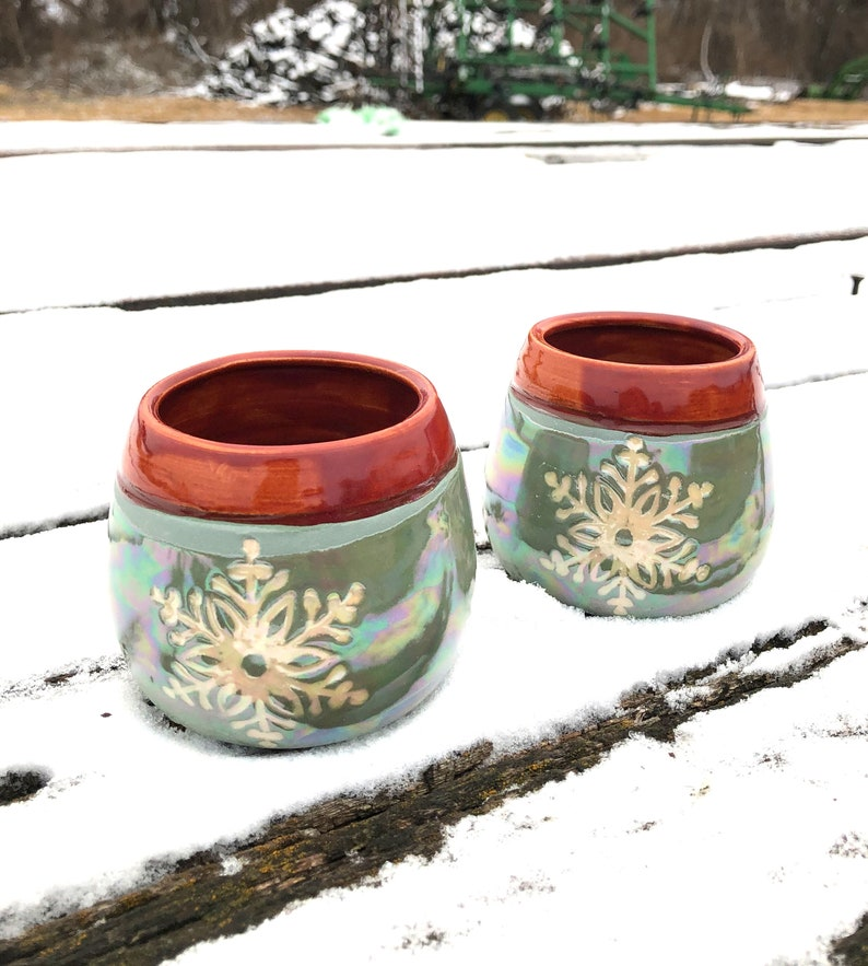 Snowflake Pottery Wine Cups Tumblers Sgraffito-Green and image 0