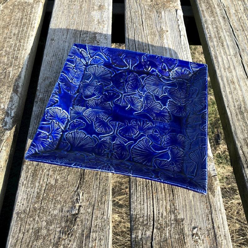 Cobalt Blue Square Tray Stamped Ginkgo Leaf Texture Handmade image 0