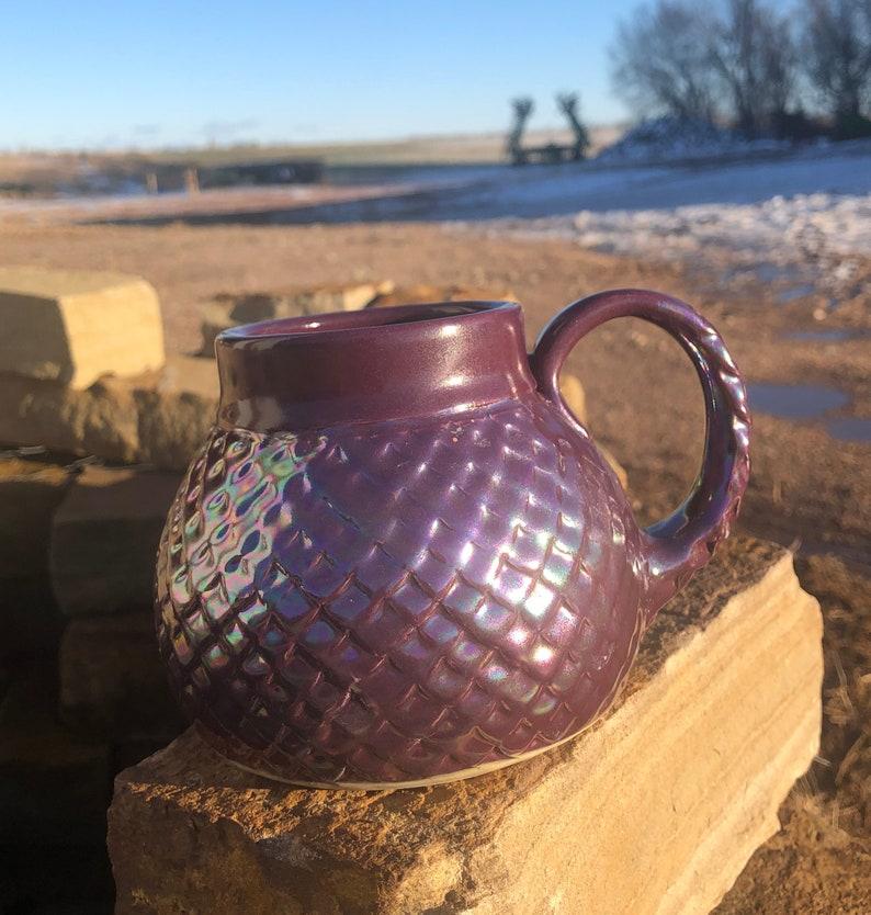 Large Mug Purple Dragon Scale/ Mermaid Mother-of-Pearl Luster image 0