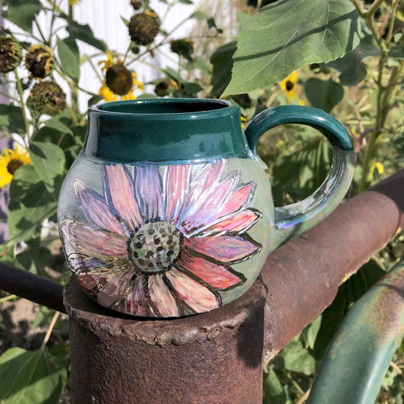 Pink Daisy Mug with white gold luster Pottery Handmade by image 0
