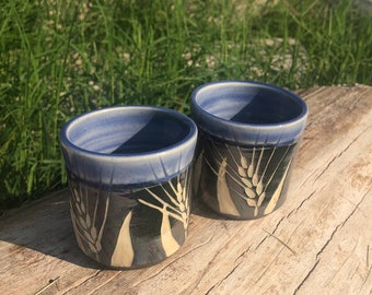 Pottery shot cup set of two 3 oz. Periwinkle and Black and White Wheat Shot glasses Handmade by Daisy Friesen