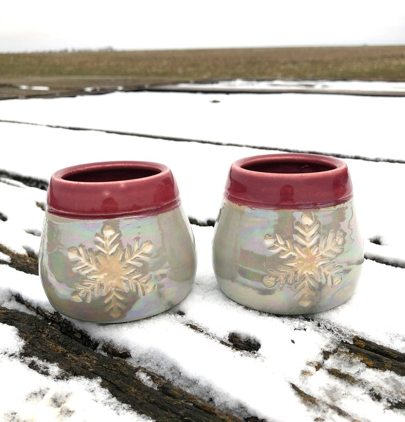 Snowflake Pottery Wine Cups Tumblers Sgraffito-Raspberry and image 0