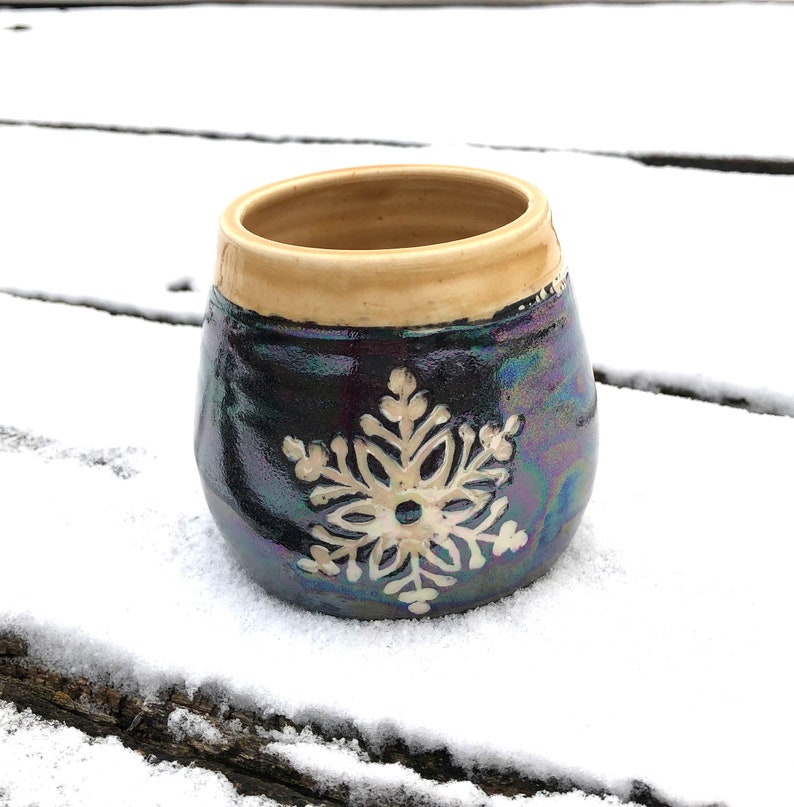 Snowflake Pottery Wine Cup Tumbler Sgraffito Golden Ambrosia image 0