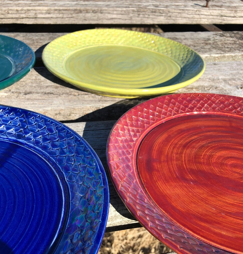 Dinner Plates Set of 4 Colorful Dragon Scale Pottery Handmade image 0