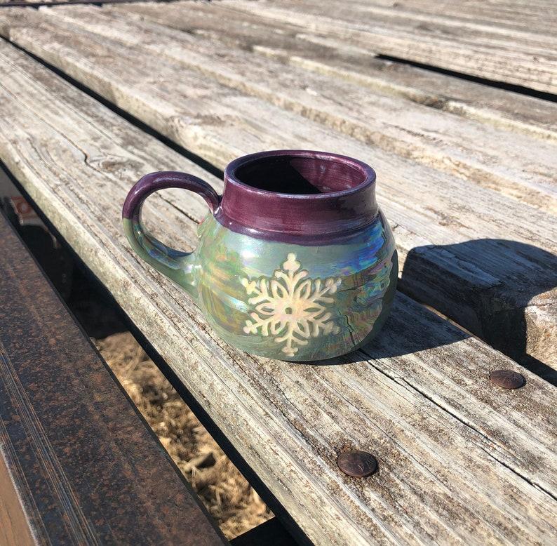 Snowflake Mug Sgraffito Purple and Green with image 0