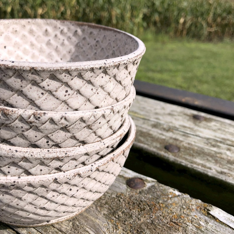 Stoneware Dragon Scale Pottery Soup Bowls Set of 4 Handmade by image 0
