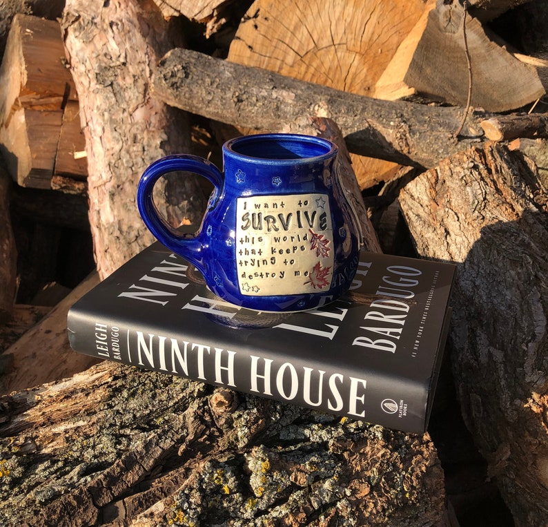 Large Literary Mug Cobalt Blue I want to survive this image 0