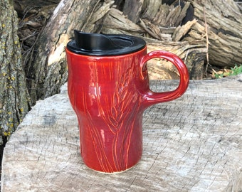 Red Travel Mug, Lidded Cup, Wheat, Teacher Gift, Coffee Mug, Pottery Handmade by Daisy Friesen