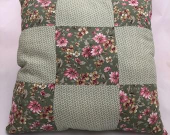Pink and Green 9 Patch Pillow, Throw Pillow, Accent Pillow, Housewarming Gift, Wedding Gift, Floral, Cotton, Handmade