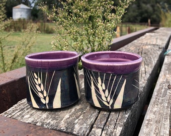Pottery shot cup set of two 3 oz. Orchid Purple and Black and White Wheat Shot glasses Handmade by Daisy Friesen