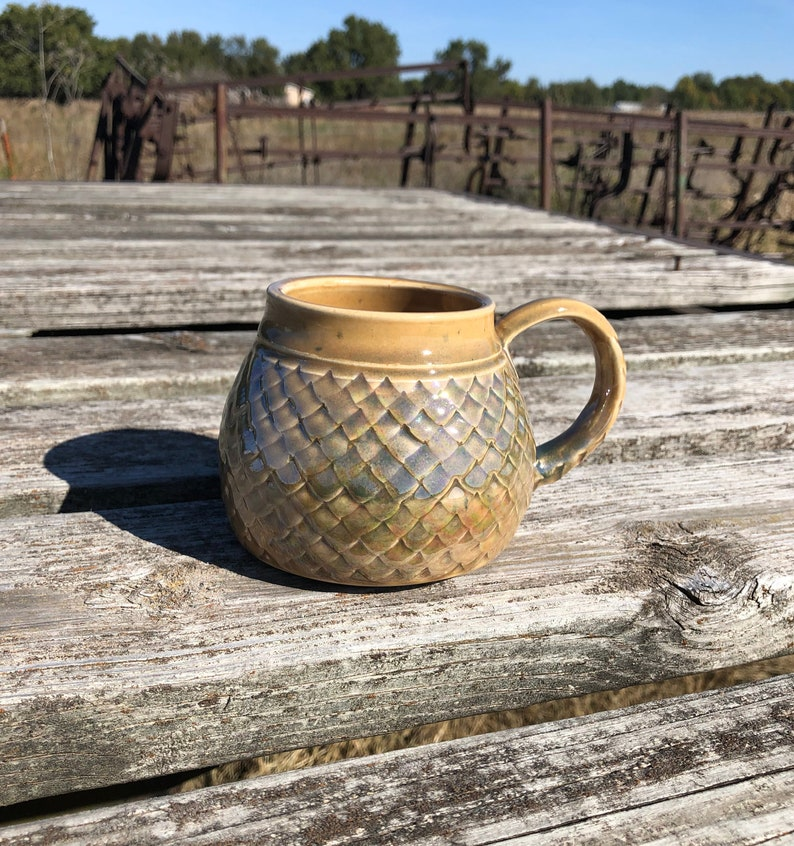Large Mug Green and Golden Ambrosia Dragon Scale/ Mermaid image 0