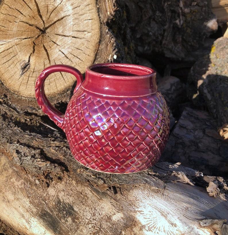 Large Mug Raspberry PInk Dragon Scale/ Mermaid image 0