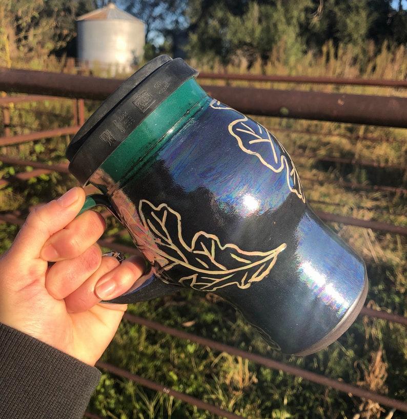 Travel Mug Lidded Cup Sgraffito Black and White Burr Oak image 0