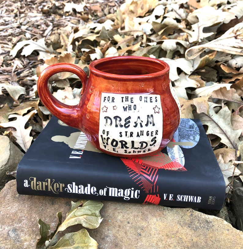 Pottery Mug For the ones who dream of stranger worlds V. E. image 0