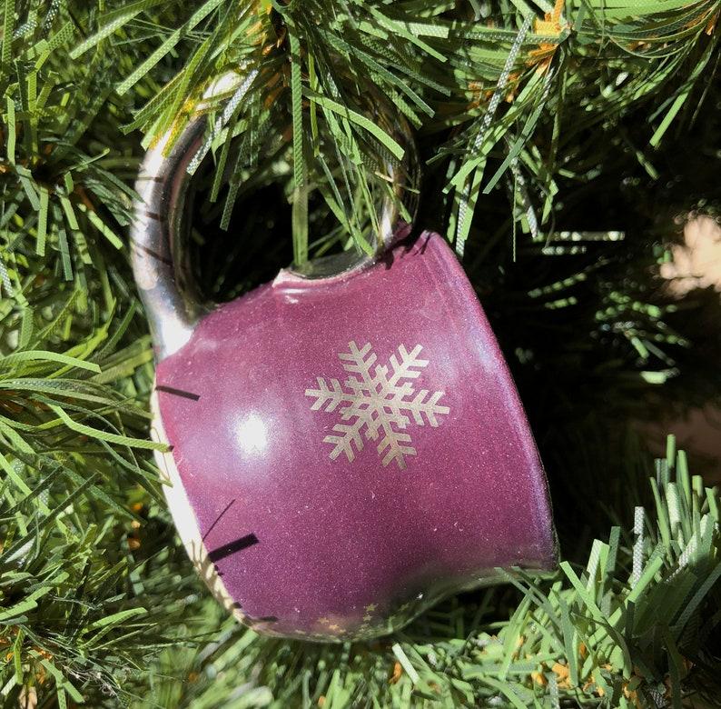 Ornament Miniature Mug-Purple with Silver Snowflakes Pottery image 0