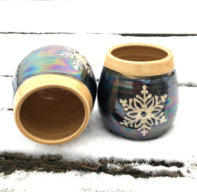 Snowflake Pottery Wine Cups Tumblers Sgraffito Golden image 0
