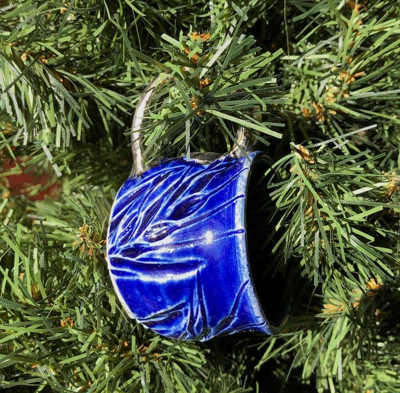 Ornament Miniature Mug Wheat Cobalt blue and Gold Pottery image 0