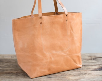 Leather Tote in Tan Harness