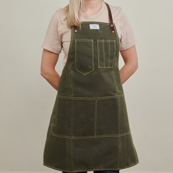 Choice of Strap Style ARTIFACT Womens Olive Green Wax Canvas Workshop Apron