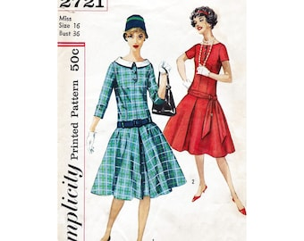 """1960s dress pattern - Simplicity 2721 - drop waist day dress - bust 36"""" - peter pan collar - full skirt dress"""
