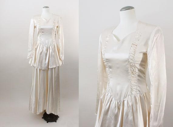 40s wedding dress - vintage satin ivory wedding dr