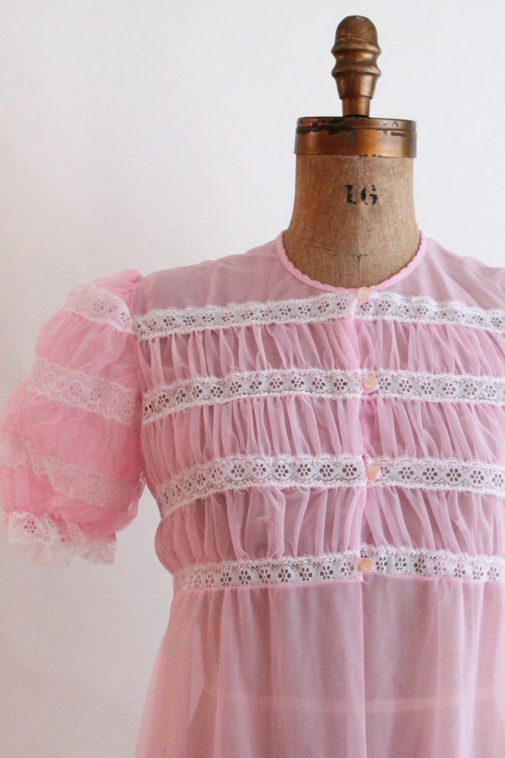 sheer pink peignoir robe - 50s vintage lingerie -