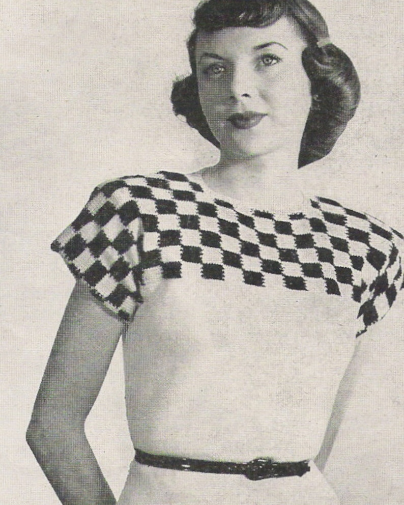 5d8f7987228e Vintage knitting pattern 40s checkered sweater pattern